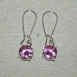 Sparkling Pink CZ Dangle Earrings - Vintage?